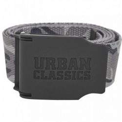 Urban Classics - Rubbered Touch Grey Camo Vászon Öv